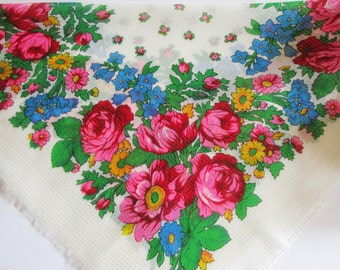 Vintage Russian Style Off- White Folk Art Scarf with Bright Flowers and Golden Lurex Thread in Thin Wooly Quality