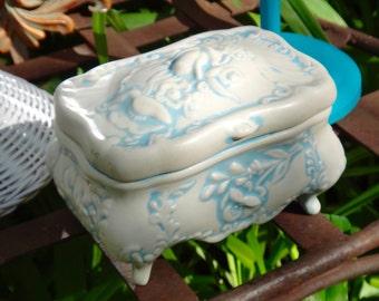 Jewelry Box, Holland Mold, Trinket Box, Casket, White Blue, Keepsake Box, Memento, Storage, Dresser Decor, Vanity, Victorian, Gift for Her