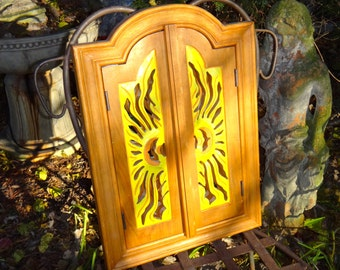 Furniture, Mirror, Sunburst, Carved Cabinet, Mirror Cabinet, Shutter Mirror, Wood Mirror, Boho, Yellow Orange, Eclectic, Bohemian, Entryway