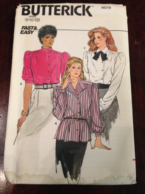 Misses Blouses Butterick 80s Fast and Easy Sewing Pattern 6079 UNCUT Size 8-10-12