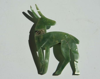 Art Deco Green Celluloid Deer Brooch 1920-1930s
