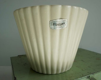 Vintage Haeger White Art Pottery Planter