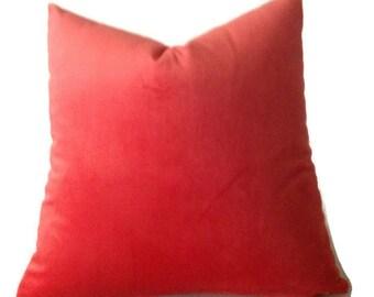Velvet Pillow, Designer Velvet Pillows, Persimmon Orange Pillows, Decorative Throw Pillow Covers, Solid  Orange Velvet  Pillow Covers