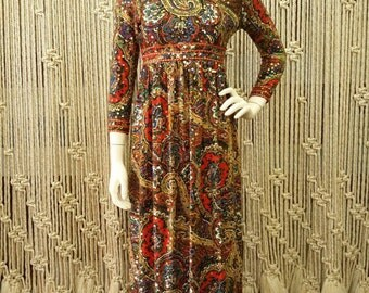 1970s boho paisley print sequin floor length dress