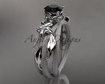 platinum diamond floral, leaf and vine wedding ring, engagement set with a Black Diamond center stone ADLR253S