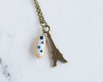 Eclairs in Paris Necklace - BLUEBERRY - French Patisserie Pastry Food Jewelry