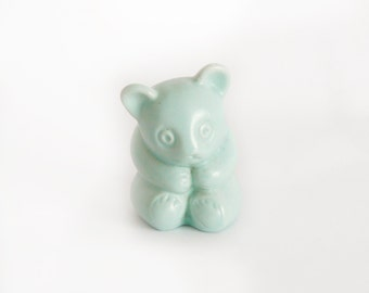 Vintage Light Teal Teddy Bear Planter Vase