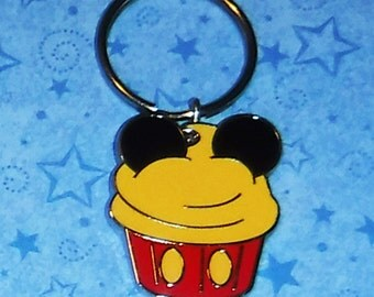 Mickey Mouse Cupcake Key Chain, Re-purposed from Disney Trading Pin, 2 Inches Long.
