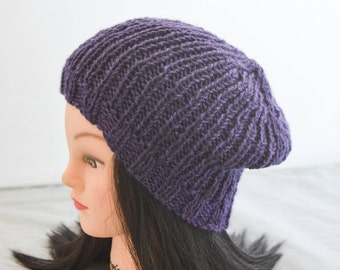 Knit Slouchy Ribbed Beanie Ladies Purple Slouchy Hat Hipster Casual Fashion Womens Accessories