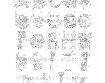Printable Coloring Pages Medieval Alphabet A-M Adult Colouring Pages Rennaisance Era Digital Graphics from Ancient Texts Digital Download