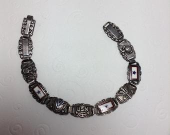 Vintage Forget-Me-Not Military Service Sweetheart Bracelet  Item: 17207