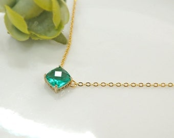 green necklace, Teal Blue Zircon necklace, Bridesmaid Gift, glass stone, Everyday Necklace