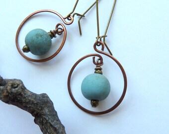 Earrings, Handmade Antique Copper Hoops Earrings, Rustic Turquoise Glass and Antique Copper Earrings, Boho Style Blue Dangle Earrings