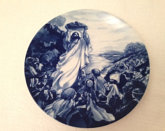 Vintage 1993 Avon Collector Plate JESUS FEEDS The MULTITUDES Flow Blue Style Transferware
