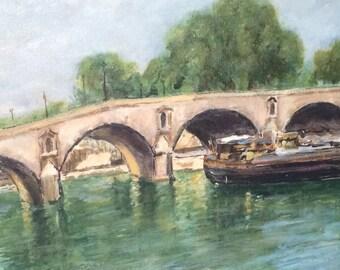 French oil painting. Le pont Marie. Paris. Marcel Lambault