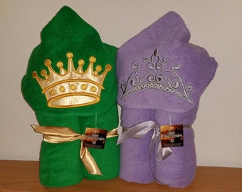 Crown or Tiara Hooded Bath Towel King, Queen Princess
