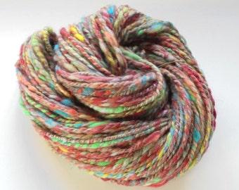 Handspun Yarn, BIRTHDAY PARTY, Soft OOAK yarn, bulky handspun yarn, luxury merino yarn, silk yarn, alpaca yarn, knitting yarn, weaving yarn