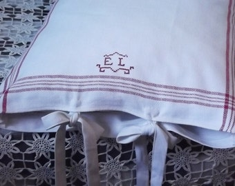 Two White Linen Pillow Cases with Handmade Vintage Red Monogram EL and Red Stripes.