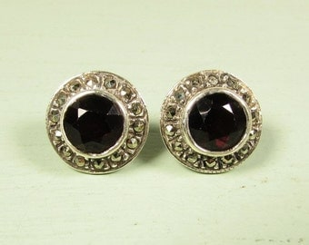 Sterling Silver Garnet Earrings - Dark Red 925 Marcasite Pierced