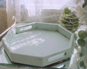 Green Tray Vintage Painted Wood Octagonal French Country Romantic Shabby Chic Home Distressed