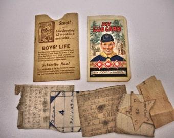 """Vintage 1939 Boy Scout """" My Cub Card """" 1939 BSA Troop 81 Abernathy Texas"""