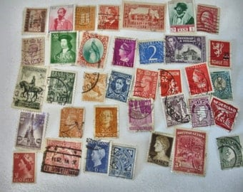 Vintage lot of 100 Postage Stamps World Wide Canceled Stamps 1950s 60s