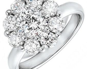 GIA Certified Beautiful Round Cut Diamond Engagement Ring 3.20ctw 18k Gold