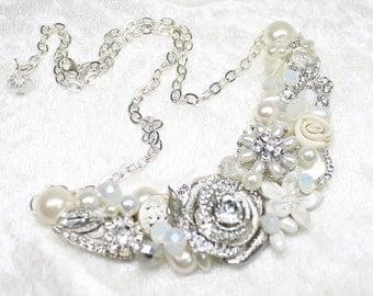 Bridal Statement Necklace- Rhinestone Bib Necklace- Pearl Necklace- Bridal Statement Bib- Rhinestone Necklace-Wedding Necklace- Brass Boheme