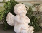 Vintage Plaster Cherub Concrete Cherub Statue