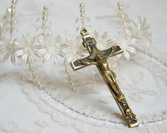 Antique French, pectoral cross, bronze and ebony, nuns crucifix, vintage cross, vintage crucifix, Napoleon III cross, religious jewelry