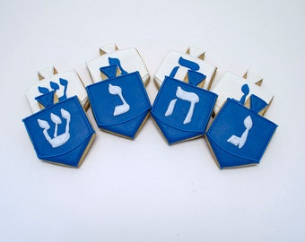 Decorated Cookies for Hanukkah - Dreidel - 1 dozen
