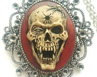 Silver Demon Skull Necklace Pendant Dark Red Blood Morbid Dead Pagan Vampire