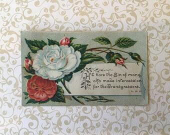 Sweet Victorian Era Bible Quotation Scrap Is. 53: 12.