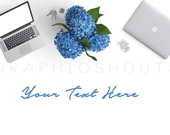 Stock Photography Image   Blue and Silver   Flowers and Tablet    Product Styled Photography   Mockup Design   Advertising   Laptop