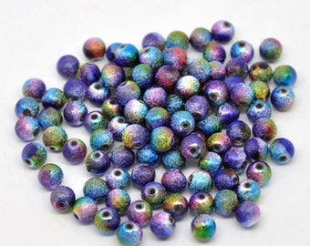 100 Multicolored Star Dust Shimmery Round Beads, size 8mm - Peacock colors, bulk beads