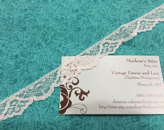 White lace, 1 yard of 3/4 inch White Chantilly lace trim with for bridal, baby, lingerie, accessories by MarlenesAttic - Item 6Q