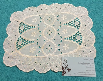 Vintage 11x9 inch Off White Lace Doily for crafts, sewing, housewares, linen, trim, holiday, table by MarlenesAttic