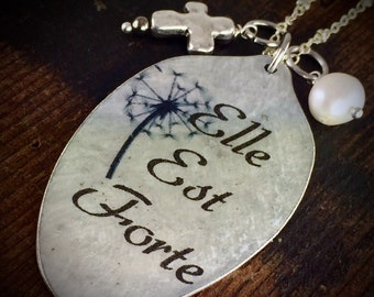 Elle Est Forte Spoon Necklace, She is Strong Pendant, Proverbs 31:25 Scripture Jewelry, Quick Ship, Unique Spoon Pendant by Kyleemae Designs