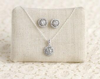 Bridesmaid Jewelry Set - Cubic Zirconia Wedding Jewelry - Halo Bridal Set - Halo Earring Studs - Halo Necklace - Bridesmaid Gift