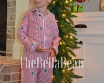 SALE!! Oh Christmas Tree Boys Button Down Pajama Set