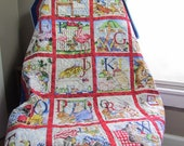 ABC's Whole Cloth Stroller Baby Quilt Blanket Quilted with ABC and Crayons