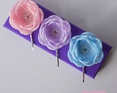 Pastel fabric flowers baby pink lilac baby blue flower hair clip grip barrette shoe clips brooch sew on dress sash ornament hair accessories
