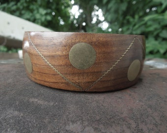 Wood Brass Bangle Bracelet Vintage 1970's Mod