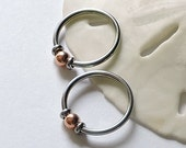"""Nipple Rings CBR and Copper Captive Ring - ONE or Set of TWO - Nipple Jewelry - Ear Jewelry - 14G 3/8"""" 1/2"""" 5/8"""" Universal Captive Bead Ring"""