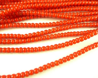 """26"""" bright cherry red white heart glass seed trade beads tribal African AA-0045"""
