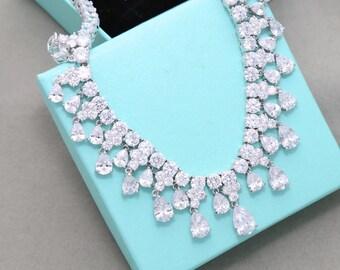 Bridal necklace, Wedding crystal jewelry, Crystal necklace, Bridesmaid necklace, Cubic Zircon, Bridal jewelry