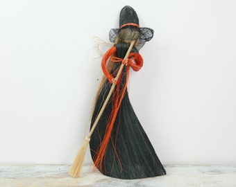 Vintage Straw Halloween witch ornament