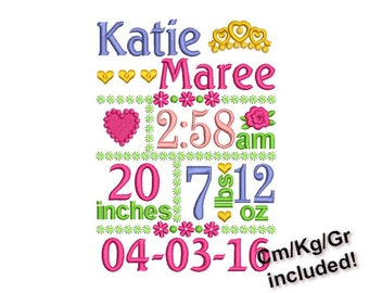 Birth announcement template embroidery designs set - Fill stitch embroidery design 3 sizes BA018