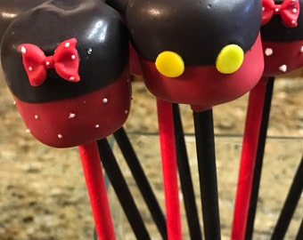 Edible Wedding Favors Chocolate Dipped Marshmallow Pops Minnie Or Micky Mouse