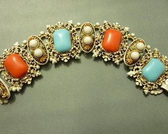 Vintage White Enamel Turquoise Coral Cuff Bracelet - Unsigned